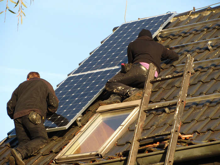 Installation of a Solar Panel on a Rooftop