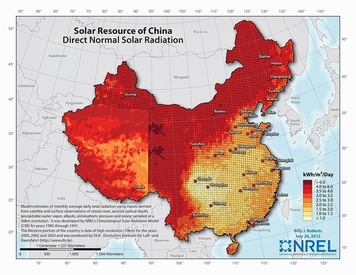 Solar Resource of China - Direct Normal Solar Radiation