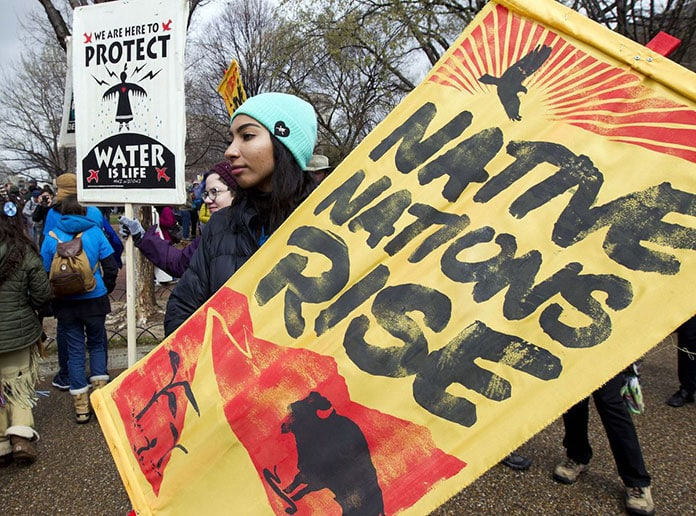 Dakota Access Pipeline demonstrators outside the White House on March 10, 2017.