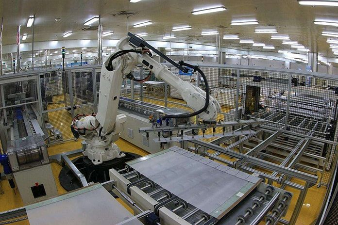 A robotic solar PV production line in China