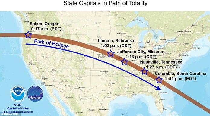 State Capitals in Path of Aug. 21 Totality