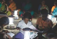 African Children Study Using Solar Clean Energy