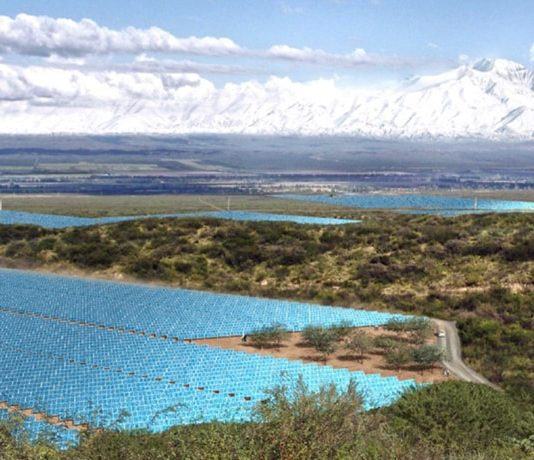 Solar PV Field Snow-Capped Mountains