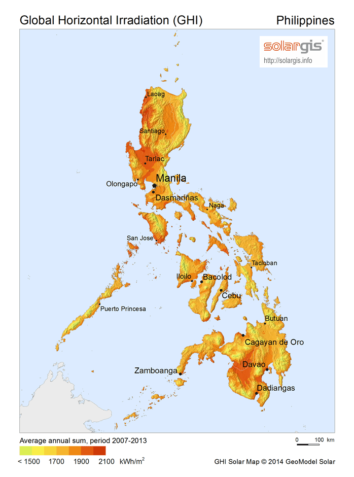 Solar Radiation Map: Global Horizontal Irradiation Map of the Philippines