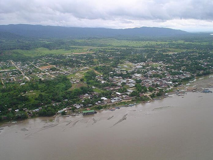 Aerial View of the Remote City Atalaya in the Amazon Jungle