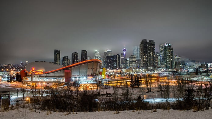 Calgary Downtown Night with Snow in Alberta Canada