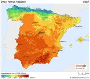 Solar Direct Normal Irradiation in Spain
