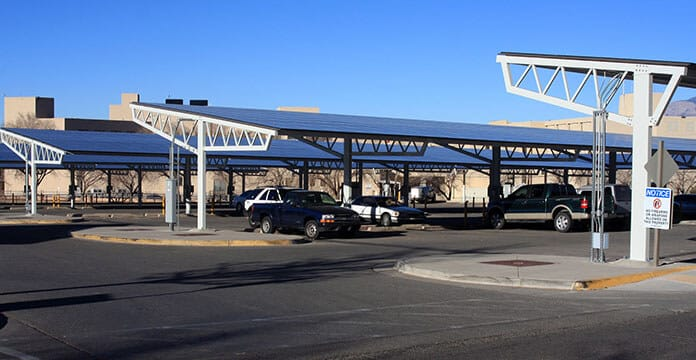 Photovoltaic Solar Panels in Parking Lot in New Mexico