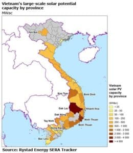 Vietnam's Large-Scale Solar Potential Capacity by Province (MWac)