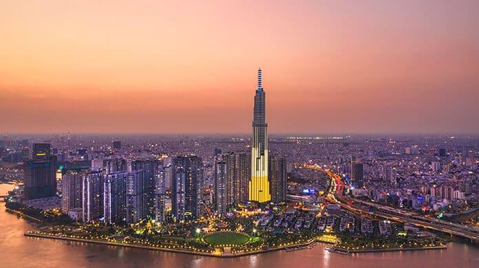 Top View Aerial of Center Ho Chi Minh City and Saigon Bridge