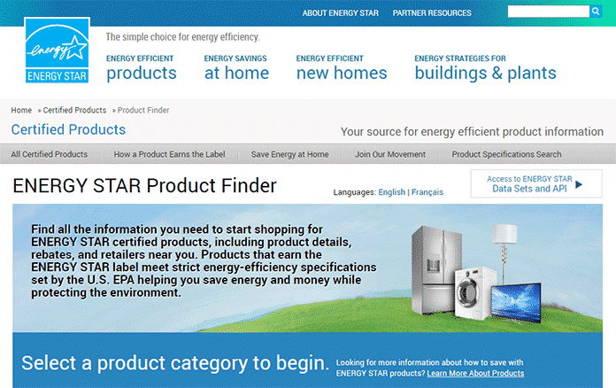 Energy Star Certificate Appliances Finder