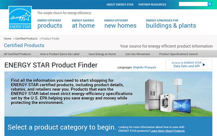 Energy Star Certificate Appliances Finder