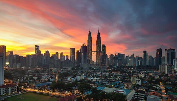 Petronas Twin Towers Under Orange Sunset, Kuala Lumpur