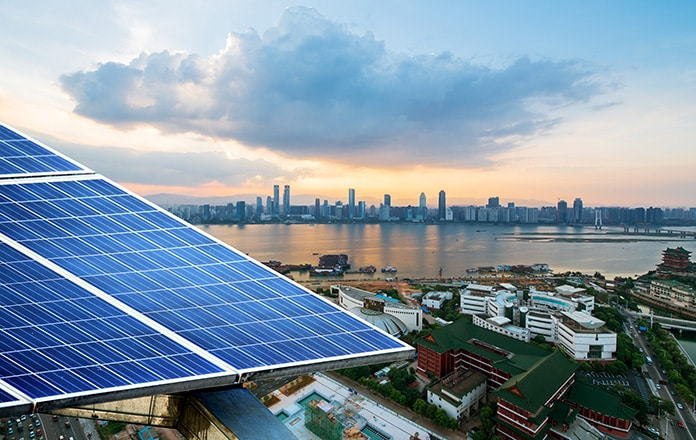 Solar Panels and the Cityscape of Modern Singapore During the Clean Energy Transition