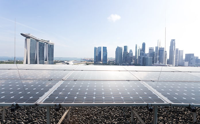Rooftop Solar Panels with Cityscape of Singapore