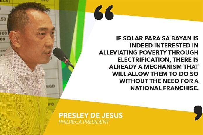 PHILRECA President Presley De Jesus Comments on Solar Para sa Bayan's Franchise