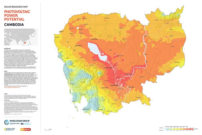 Solar Resource Map: Cambodia Photovoltaic Power Potential