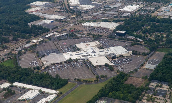 Aerial View of Big-Box Retailer Rooftop with Solar Potential