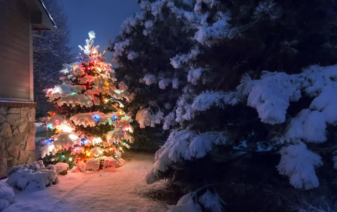 Using Solar Energy to Power Christmas Tree Lights on a Snowy Morning