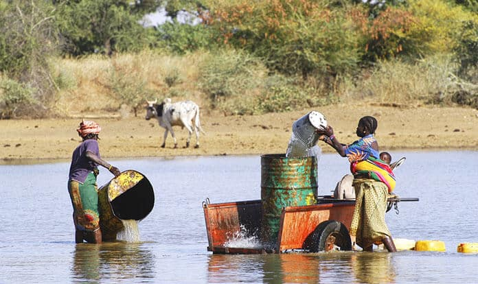 African Women Filling and Transporting Water Bottles to Irrigate Crops on Their Farms