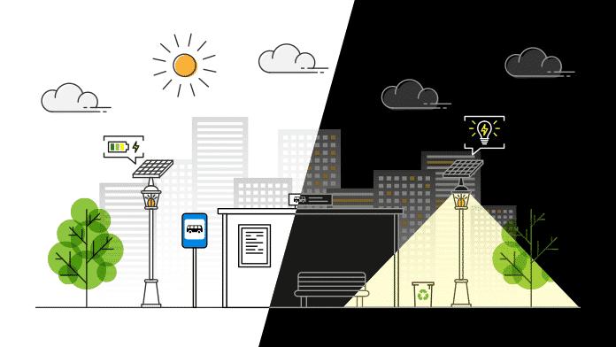 How a Solar Street Light Works - Illustration