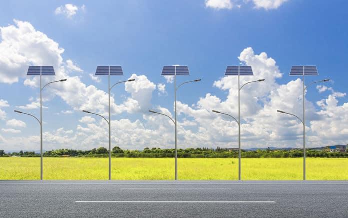 Solar Street Lights Installed Along a Suburban Road