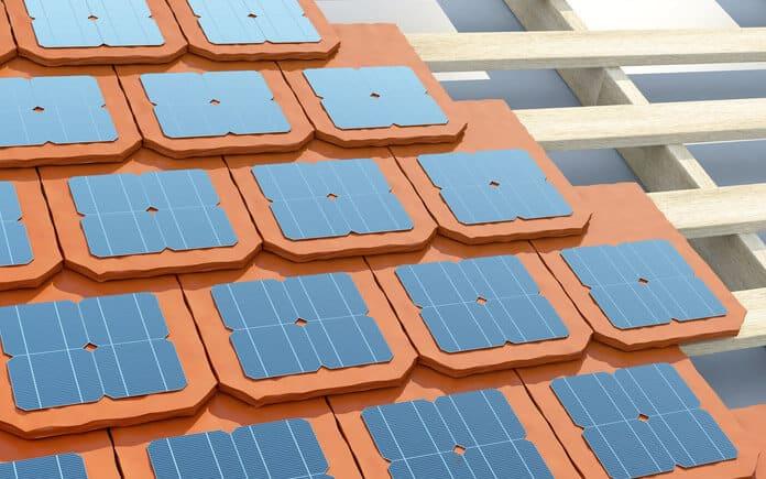 La Ilustración DE La Instalación DE Baldosas Solares en El Tejado