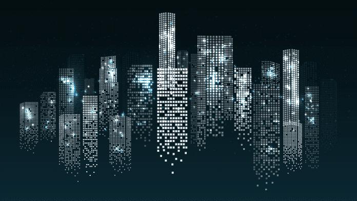Gran Número DE Ventanas Que Generan Electricidad en Los Rascacielos Urbanos