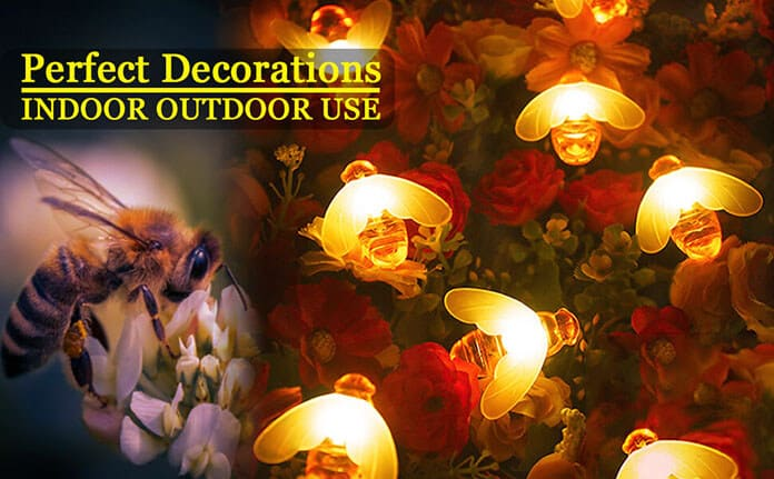 SEMILITS Bee-Shaped Outdoor String Lights With Blinking and Steady Modes