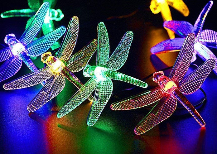 Dragonfly-Shade Solar Garden String Lights Designed to Mimic the Natural Environment