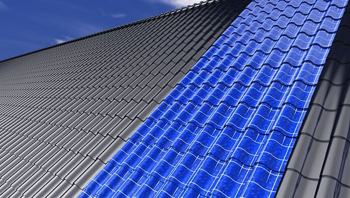 Illustration of Roof With Solar Tiles