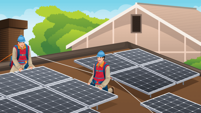 Solar Engineers Installing Solar Panels on Existing Roof