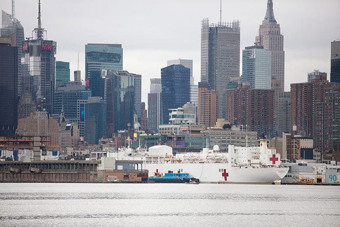 The USNS Comfort Docked in New York City During the Spread of Coronavirus
