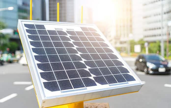 Solar Panel Installed on Street in Tokyo