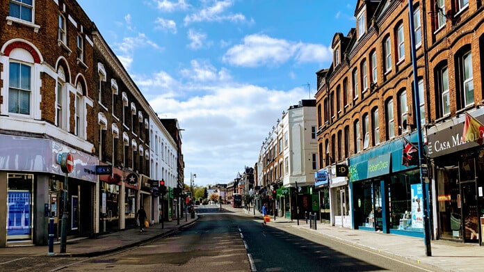 A Closed and More or Less Deserted Street in the UK During Coronavirus