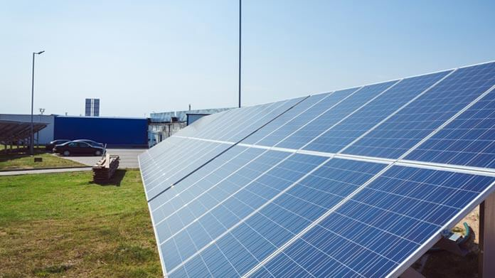 Ground-Mounted Solar Panel Arrays Near a Solar Canopy