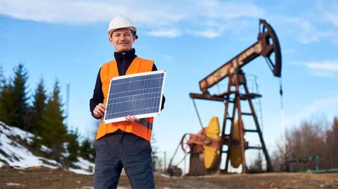 Solar Panels at an Oil Field