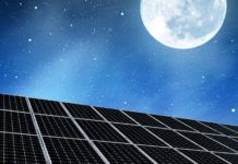 Solar Panels at Night Under the Moon