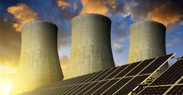 Nuclear Tower and Solar Panel Arrays
