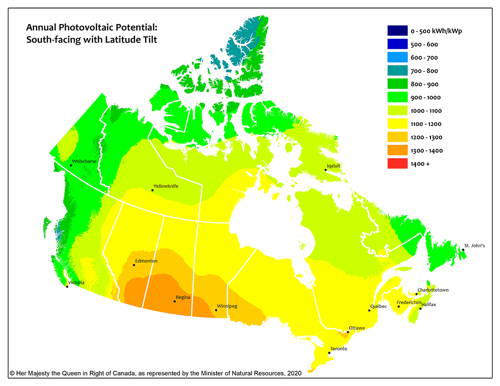 PV Potential and Solar Resource Maps of Canada